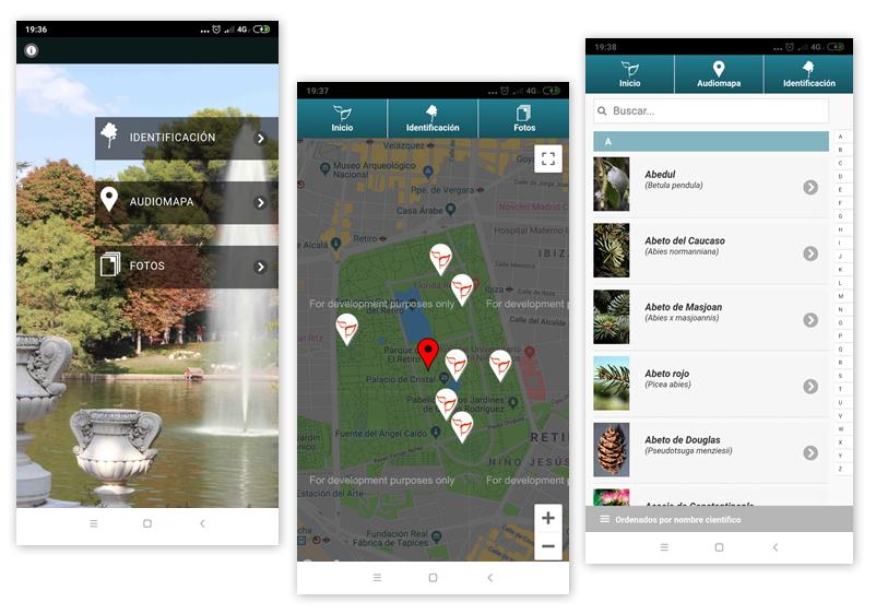 Aplicación para móvil Álboles del Parque del Parque del Retiro, BioatlasApp Grupo Heliconia